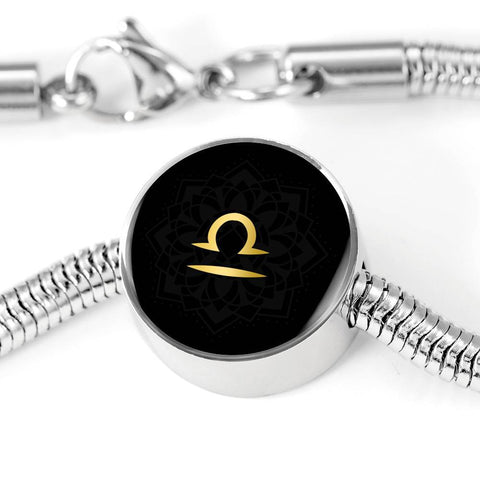 Gold on Black Libra Zodiac Astrology Charm Bracelet - Lyghtt