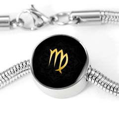 Gold on Black Virgo Zodiac Astrology Charm Bracelet