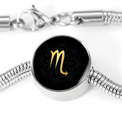 Gold on Black Scorpio Zodiac Astrology Charm Bracelet