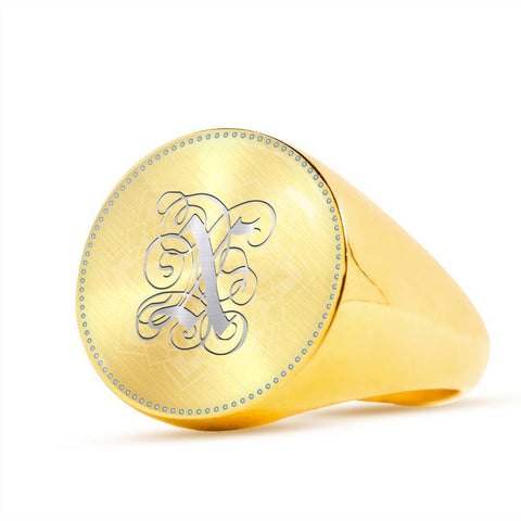Personalized, Monogram Name Signet Ring with X Silver Initial - Lyghtt