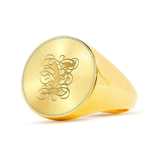 Personalized, Monogram Name Signet Ring with Gold Y Initial