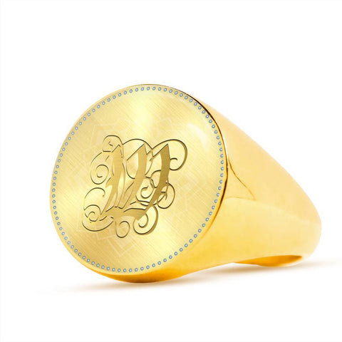 Personalized, Monogram Name Signet Ring with Gold W Initial - Lyghtt