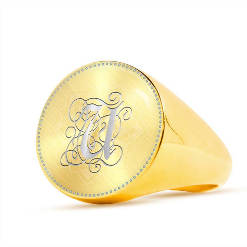 Personalized, Monogram Name Signet Ring with U Silver Initial - Lyghtt