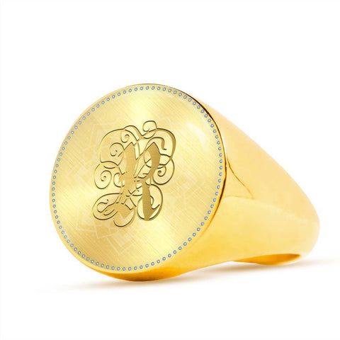 Personalized, Monogram Name Signet Ring with Gold R Initial