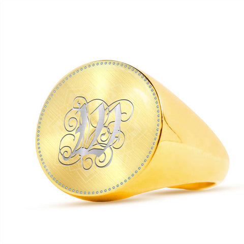 Personalized, Monogram Name Signet Ring with W Silver Initial
