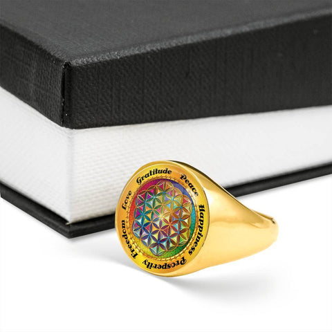 Affirmation Flower of Life Signet Ring - Lyghtt