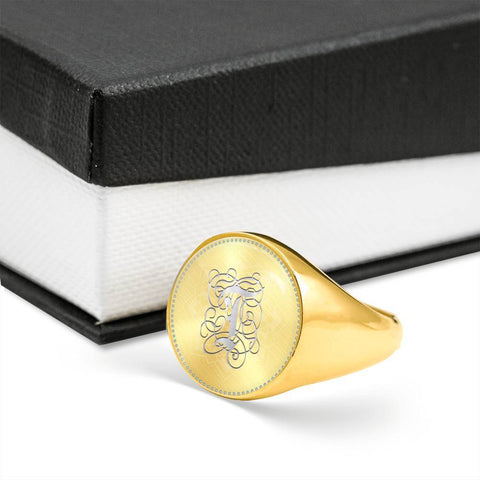 Personalized, Monogram Name Signet Ring with T Silver Initial