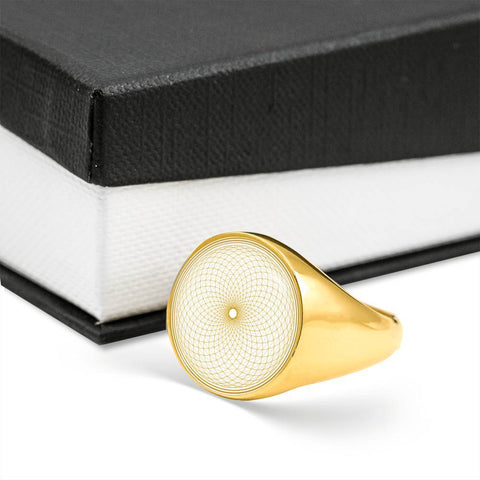 Golden Crown Chakra Sacred Geometry Signet Ring - Lyghtt