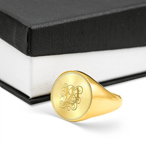 Personalized, Monogram Name Signet Ring with Gold W Initial