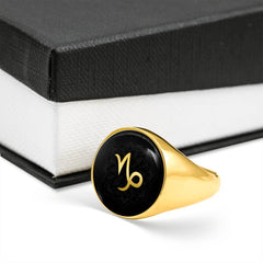 Gold on Black Capricorn Zodiac Astrology Sign Signet Ring