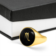 Gold on Black Scorpio Zodiac Astrology Sign Signet Ring