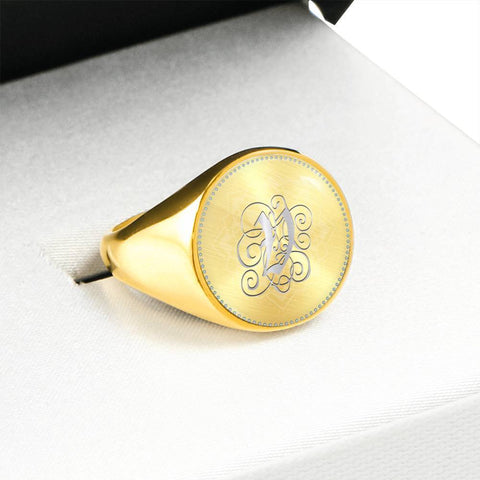 Personalized, Monogram Name Signet Ring with V Silver Initial - Lyghtt