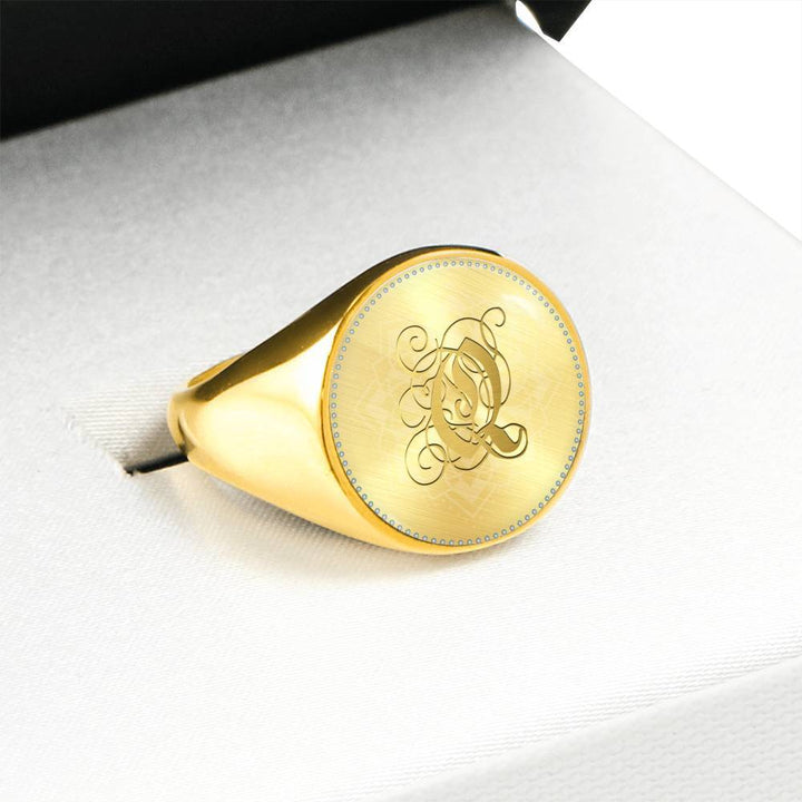 Personalized, Monogram Name Signet Ring with Gold Q Initial