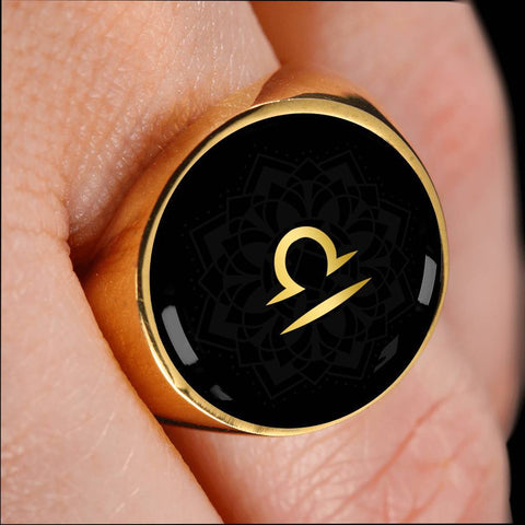 Gold on Black Libra Zodiac Astrology Sign Signet Ring - Lyghtt