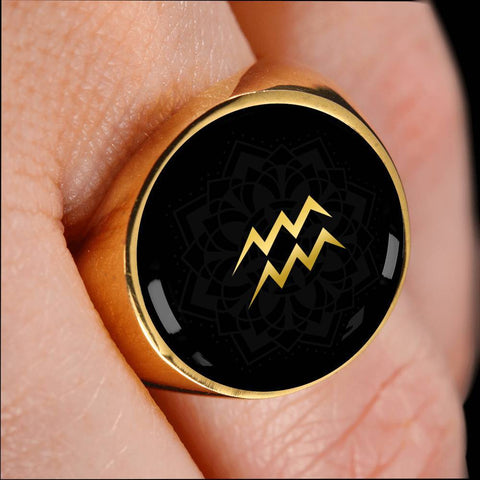 Gold on Black Aquarius Zodiac Astrology Sign Signet Ring - Lyghtt