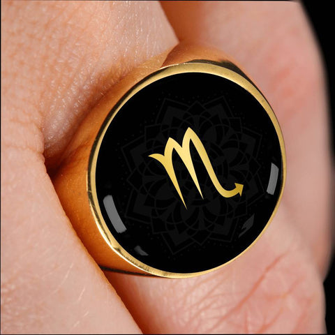 Gold on Black Scorpio Zodiac Astrology Sign Signet Ring - Lyghtt