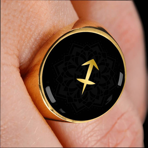 Gold on Black Sagittarius Zodiac Astrology Sign Signet Ring - Lyghtt