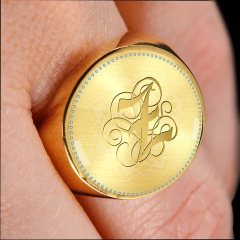 Personalized, Monogram Name Signet Ring with Gold Z Initial
