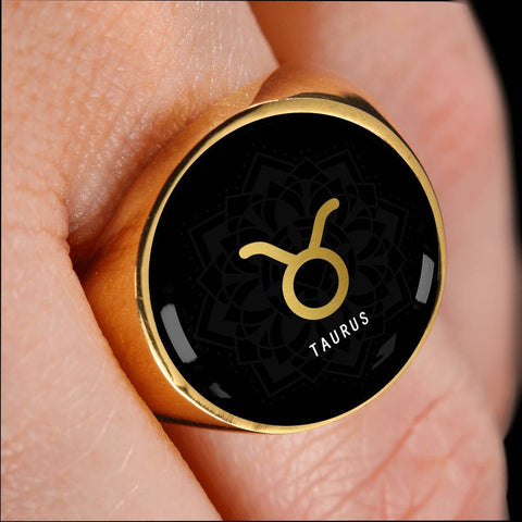 Gold on Black Taurus Zodiac Astrology Sign Signet Ring - Lyghtt