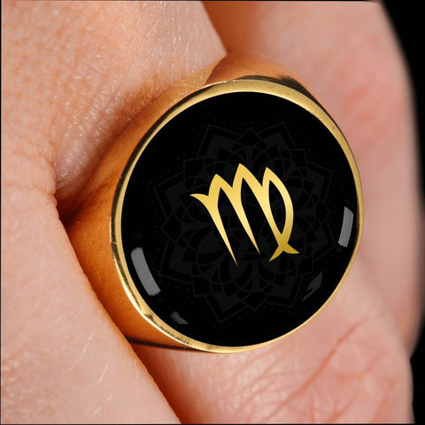 Gold on Black Virgo Zodiac Astrology Sign Signet Ring - Lyghtt