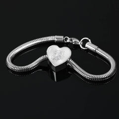 Heart Charm Bracelet with Silver S Initial, Personalized, Monogram & Name