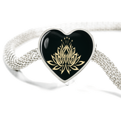 Golden Lotus Flower Heart Charm Bracelet - Lyghtt