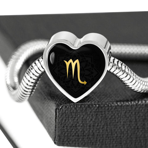 Gold on Black Scorpio Zodiac Astrology Heart Charm Bracelet - Lyghtt