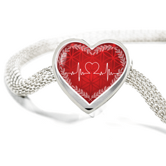 Red Love Heart Beat Heart Design Charm Bracelet - Lyghtt