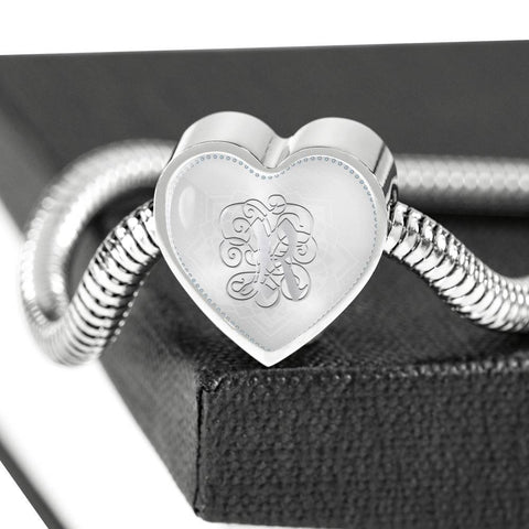 Heart Charm Bracelet with Silver R Initial, Personalized, Monogram & Name