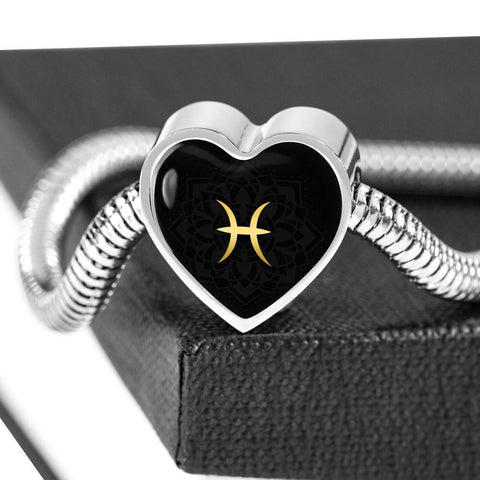 Gold on Black Pisces Zodiac Astrology Heart Charm Bracelet - Lyghtt