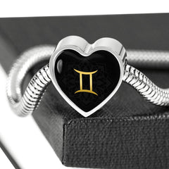 Gold on Black Gemini Zodiac Astrology Heart Charm Bracelet - Lyghtt