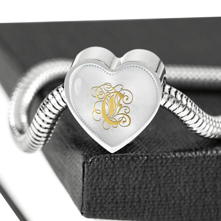 Heart Charm Bracelet with Gold C Initial, Personalized Monogram & Name