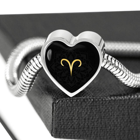 Gold on Black Aries Zodiac Astrology Heart Charm Bracelet - Lyghtt