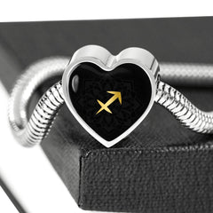 Gold on Black Sagittarius Zodiac Astrology Heart Charm Bracelet - Lyghtt