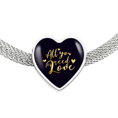 All You Need Is Love Heart Charm Bracelet