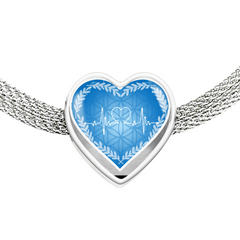 Blue Love Heart Beat Heart Shape Charm Bracelet
