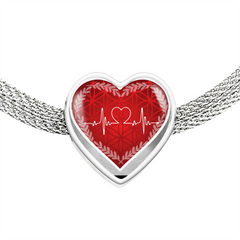 Red Love Heart Beat Heart Design Charm Bracelet