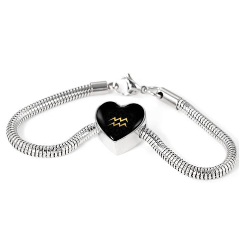 Gold on Black Aquarius Zodiac Astrology Heart Charm Bracelet - Lyghtt