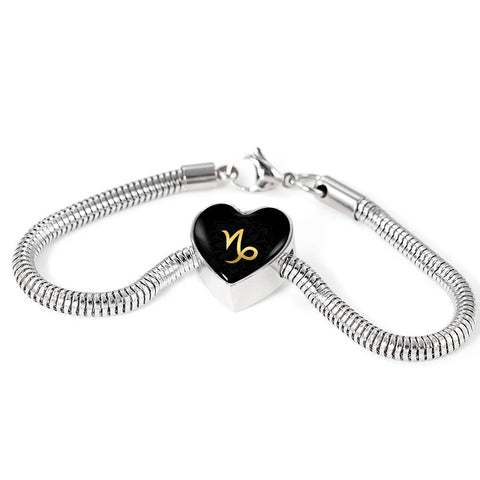 Gold on Black Capricorn Zodiac Astrology Heart Charm Bracelet - Lyghtt