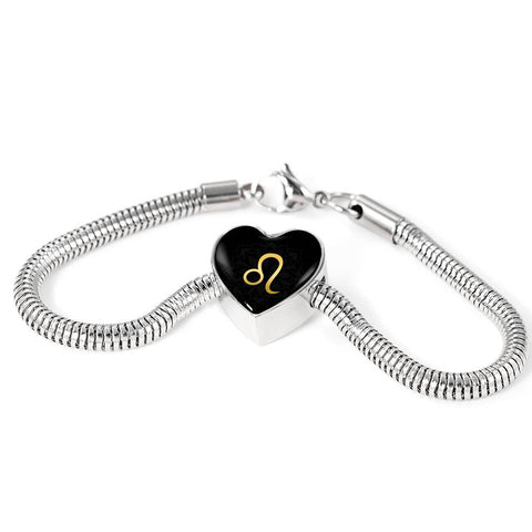 Gold on Black Leo Zodiac Astrology Heart Charm Bracelet - Lyghtt