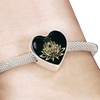 Image of Golden Lotus Flower Heart Charm Bracelet - Lyghtt