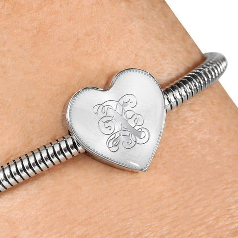 Heart Charm Bracelet with Silver X Initial, Personalized, Monogram & Name