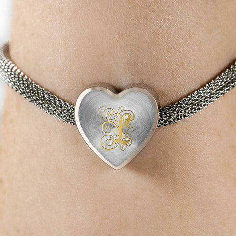 Heart Charm Bracelet with Gold L Initial, Personalized Monogram & Name - Lyghtt