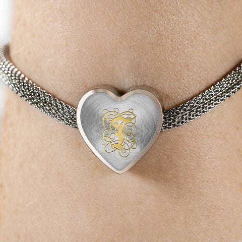 Heart Charm Bracelet with Gold T Initial, Personalized Monogram & Name - Lyghtt