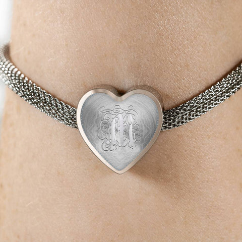 Heart Charm Bracelet with Silver Initial, Personalized, Monogram & Name M