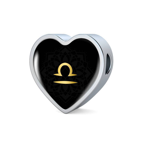 Gold on Black Libra Zodiac Astrology Heart Charm Bracelet - Lyghtt