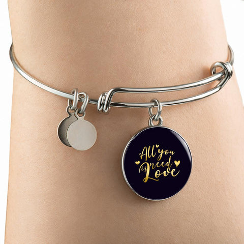 All You Need Is Love Circle Charm Bangle Bracelet - Lyghtt