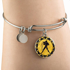 Aquarius Gold Zodiac Bangle