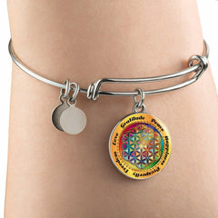 Affirmation Flower of Life Bangle Bracelet with Circle Charm