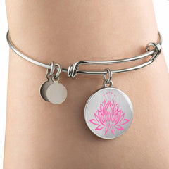 Amazing Pink Lotus Bangle Bracelets
